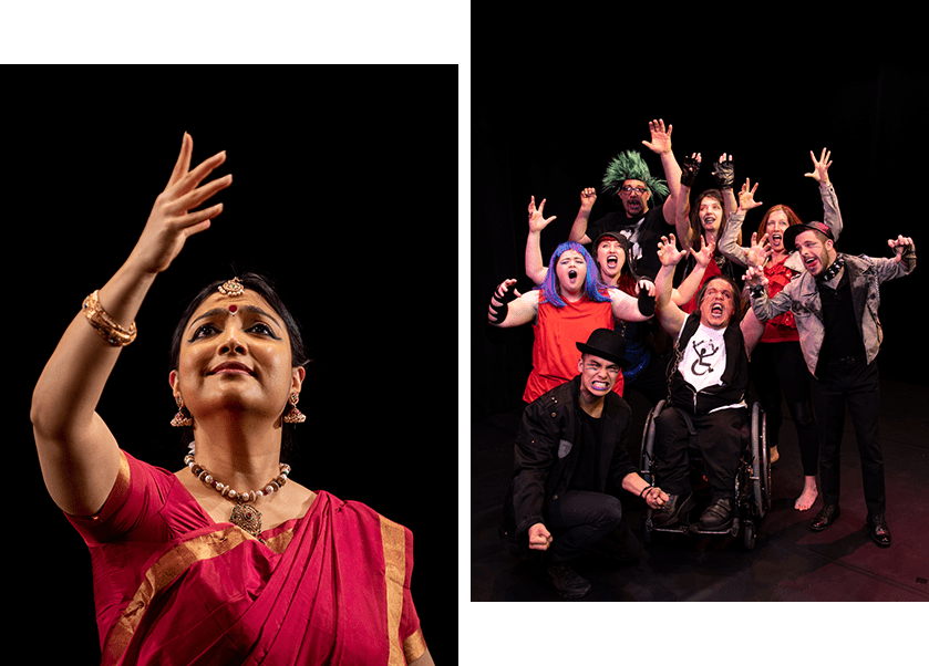 There are two photos. The left one is taken below the dancer and looks up at her gentle smile. She reaches over and looks to her extended hand. She wears a red and gold sari and gold adornments on her wrist, neck, ears and forehead. The right hand photo has a group of dancers together with lifted arms and wide open mouths as if they are roaring together. The centre dancer is in a wheel chair and the others gather around them on the floor and standing.